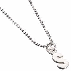 Sterling Silver Necklace with Initial S Charm