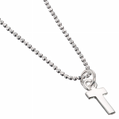 Sterling Silver Necklace with Initial T Charm