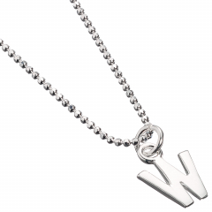 Sterling Silver Necklace with Initial W Charm