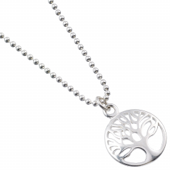 Sterling Silver Necklace with Circle Tree of Life Charm