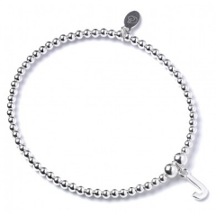 Sterling Silver Ball Bead Bracelet with 'J' Initial - RB017