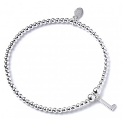 Sterling Silver Ball Bead Bracelet with 'L' Initial - RB017