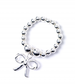 Sterling Silver Ball Bead Ring with Bow Charm