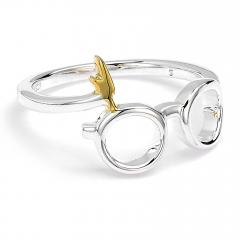 Official Harry Potter Sterling Silver Lightning Bolt & Glasses Ring - Small