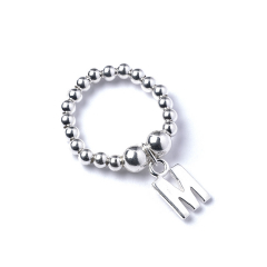 Sterling Silver Ball Bead Ring with Initial M Charm