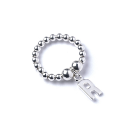Sterling Silver Ball Bead Ring with Initial R Charm
