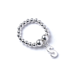 Sterling Silver Ball Bead Ring with Initial S Charm