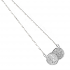Double Silver Queen Elizabeth II Sixpence Coin Necklace 1954