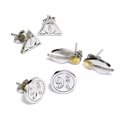 Harry Potter Stud Earring Set Snitch/ Deathly Hallows/ Platform 9 3/4- WE0104
