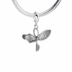 Sterling Silver Flying Key with broken wing slider charm
